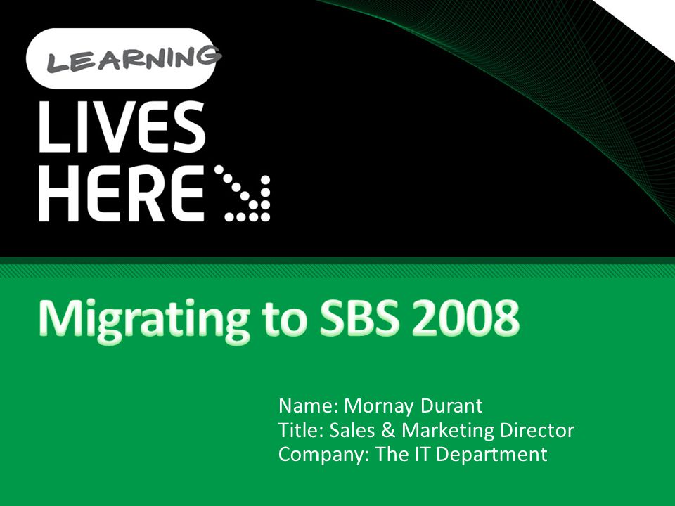 Install SBS 2008 in Migration Mode SBS installed and configured as destination server Destination server joined to existing domain (both servers can live for 21 days) Operations master ( flexible single master operations / FSMO) are transferred to Destination server Destination server becomes global catalog server Destination server becomes site licensing server DHCP is installed and configured on destination server Ensure DHCP is turned off on the router