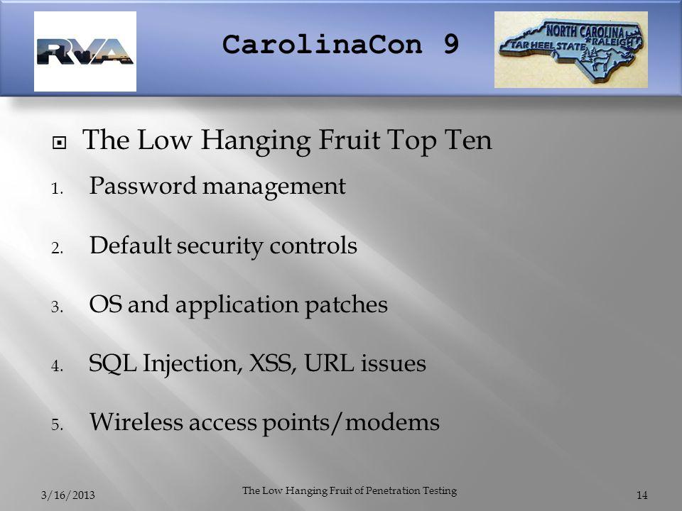 CarolinaCon 9  The Low Hanging Fruit Top Ten 1. Password management 2.