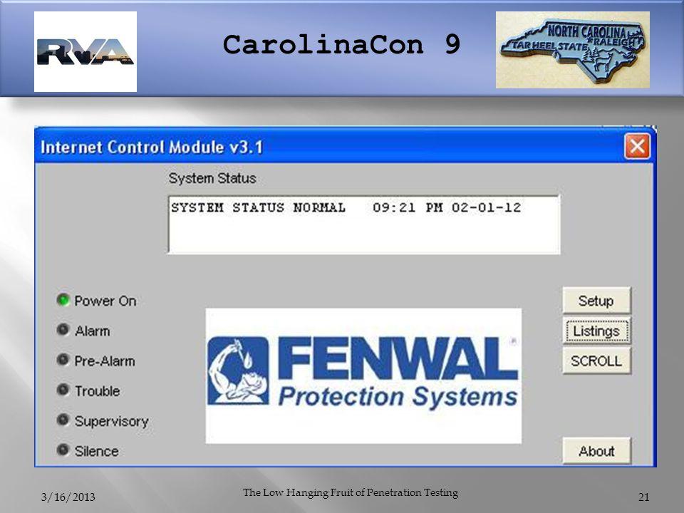 CarolinaCon 9 3/16/2013 The Low Hanging Fruit of Penetration Testing 21