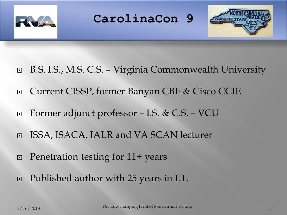 CarolinaCon 9  B.S. I.S., M.S. C.S.