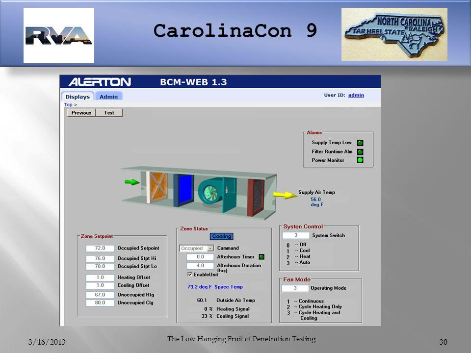 CarolinaCon 9 3/16/2013 The Low Hanging Fruit of Penetration Testing 30