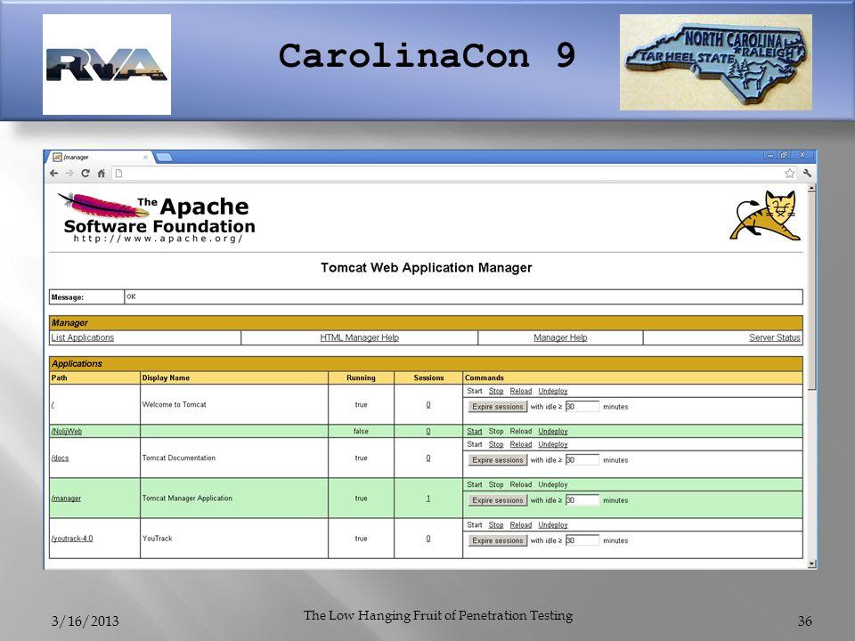 CarolinaCon 9 3/16/2013 The Low Hanging Fruit of Penetration Testing 36