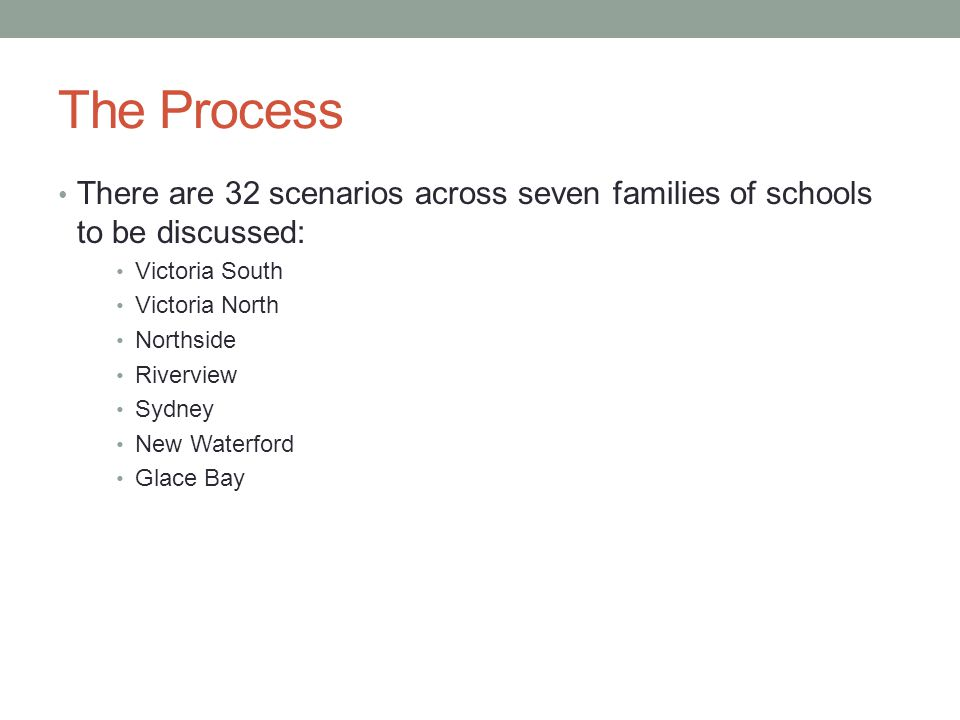 The Process There are 32 scenarios across seven families of schools to be discussed: Victoria South Victoria North Northside Riverview Sydney New Waterford Glace Bay