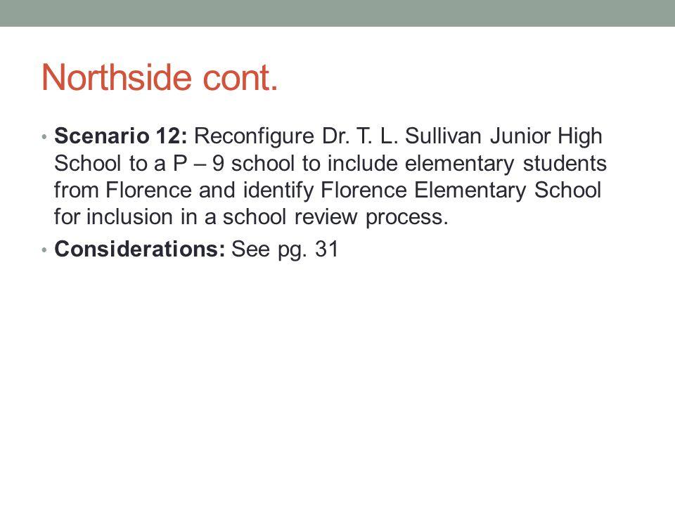 Northside cont. Scenario 12: Reconfigure Dr. T. L.