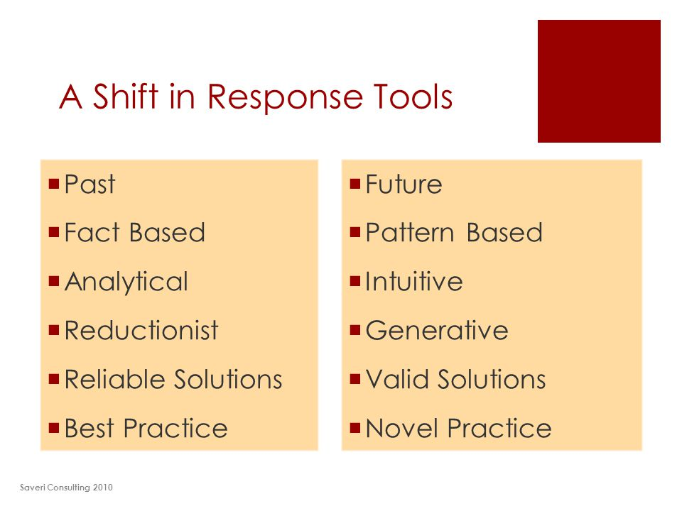 A Shift in Response Tools Saveri Consulting 2010  Future  Pattern Based  Intuitive  Generative  Valid Solutions  Novel Practice  Past  Fact Based  Analytical  Reductionist  Reliable Solutions  Best Practice