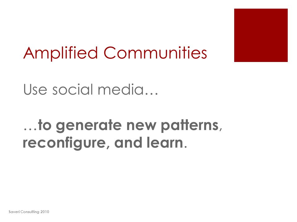 Amplified Communities Use social media… … to generate new patterns, reconfigure, and learn. Saveri Consulting 2010