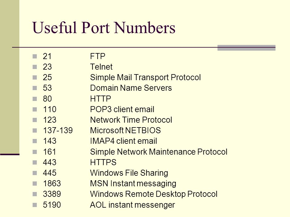 Useful Port Numbers 21FTP 23Telnet 25Simple Mail Transport Protocol 53Domain Name Servers 80HTTP 110POP3 client email 123Network Time Protocol 137-139Microsoft NETBIOS 143IMAP4 client email 161Simple Network Maintenance Protocol 443HTTPS 445Windows File Sharing 1863MSN Instant messaging 3389Windows Remote Desktop Protocol 5190AOL instant messenger
