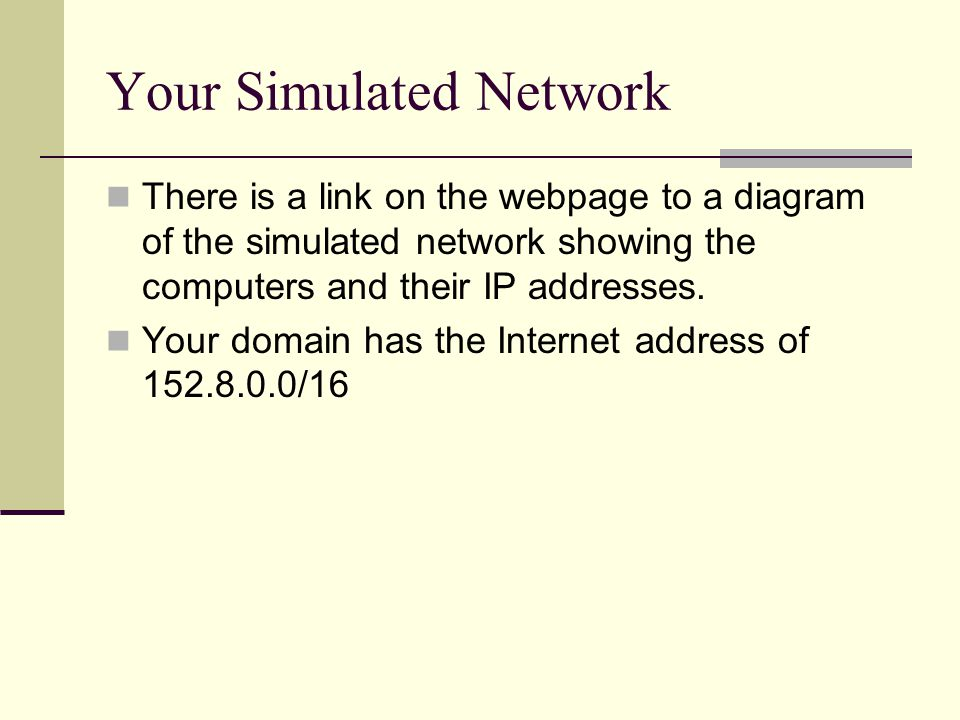 Your Simulated Network There is a link on the webpage to a diagram of the simulated network showing the computers and their IP addresses. Your domain