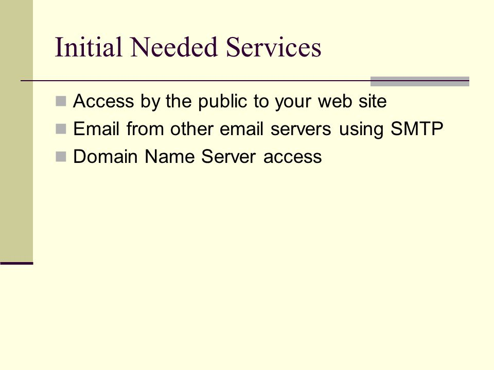 Initial Needed Services Access by the public to your web site Email from other email servers using SMTP Domain Name Server access