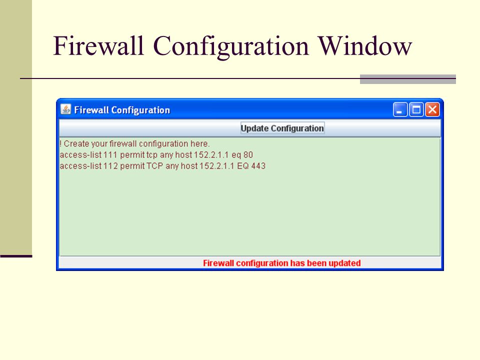 Firewall Configuration Window