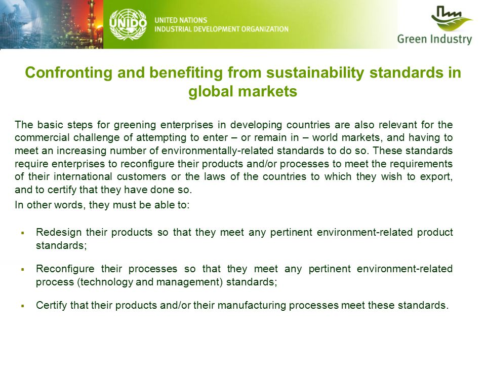 Confronting and benefiting from sustainability standards in global markets The basic steps for greening enterprises in developing countries are also relevant for the commercial challenge of attempting to enter – or remain in – world markets, and having to meet an increasing number of environmentally-related standards to do so.