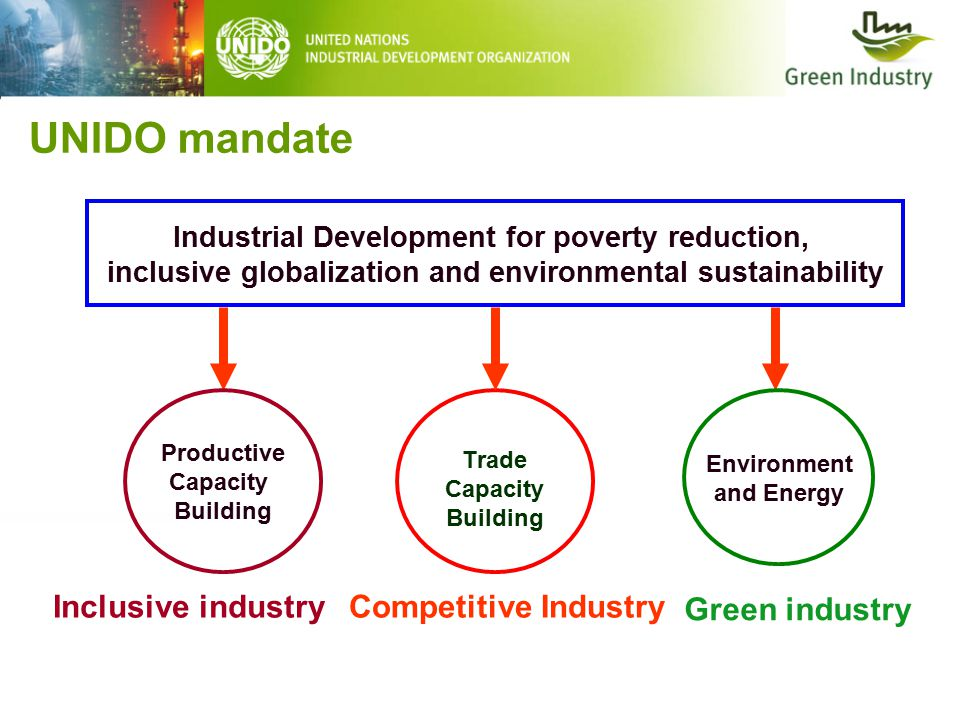 UNIDO mandate Trade Capacity Building Industrial Development for poverty reduction, inclusive globalization and environmental sustainability Productive Capacity Building Environment and Energy Inclusive industryCompetitive Industry Green industry