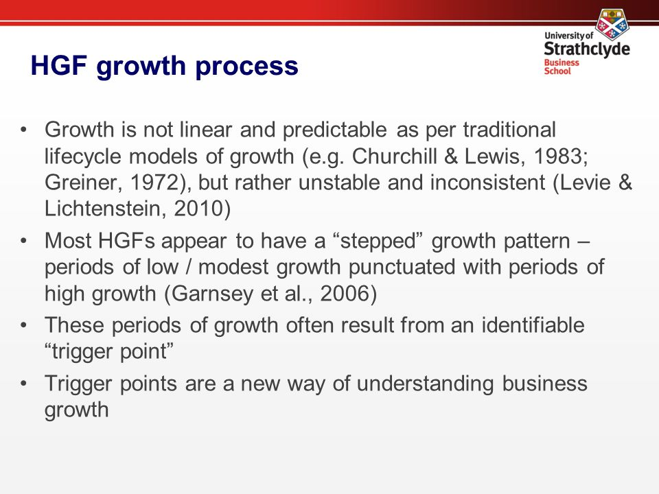 HGF growth process Growth is not linear and predictable as per traditional lifecycle models of growth (e.g.