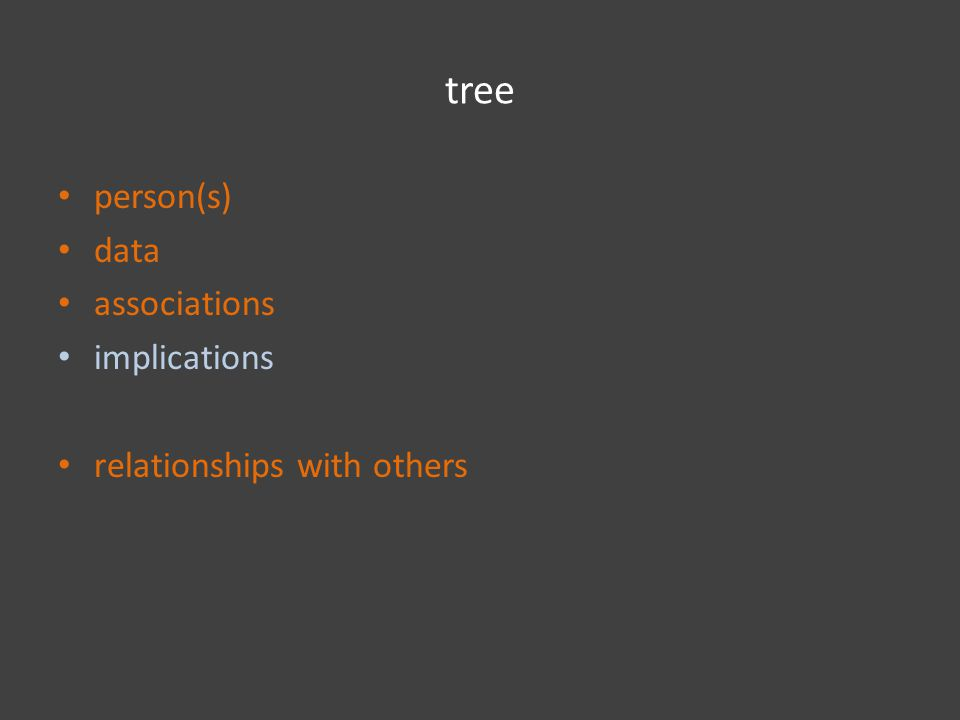tree person(s) data associations implications relationships with others