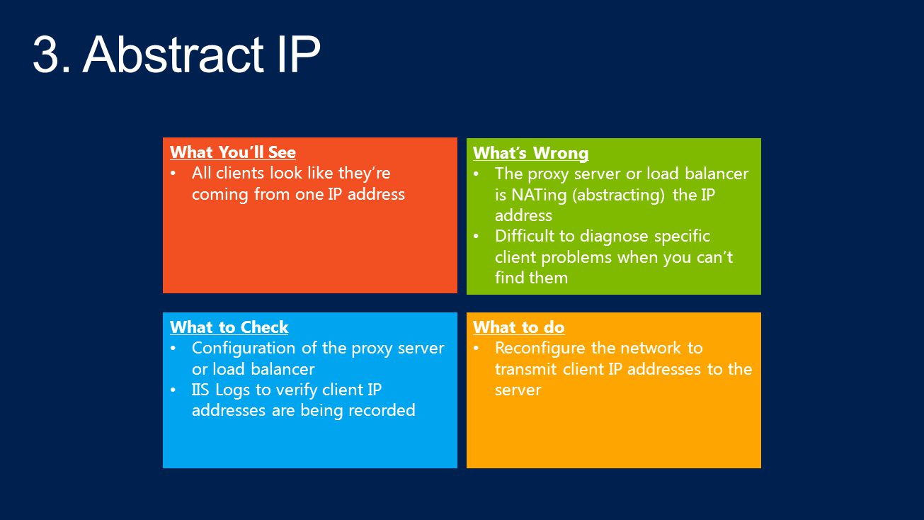 What to Check Configuration of the proxy server or load balancer IIS Logs to verify client IP addresses are being recorded What You'll See All clients