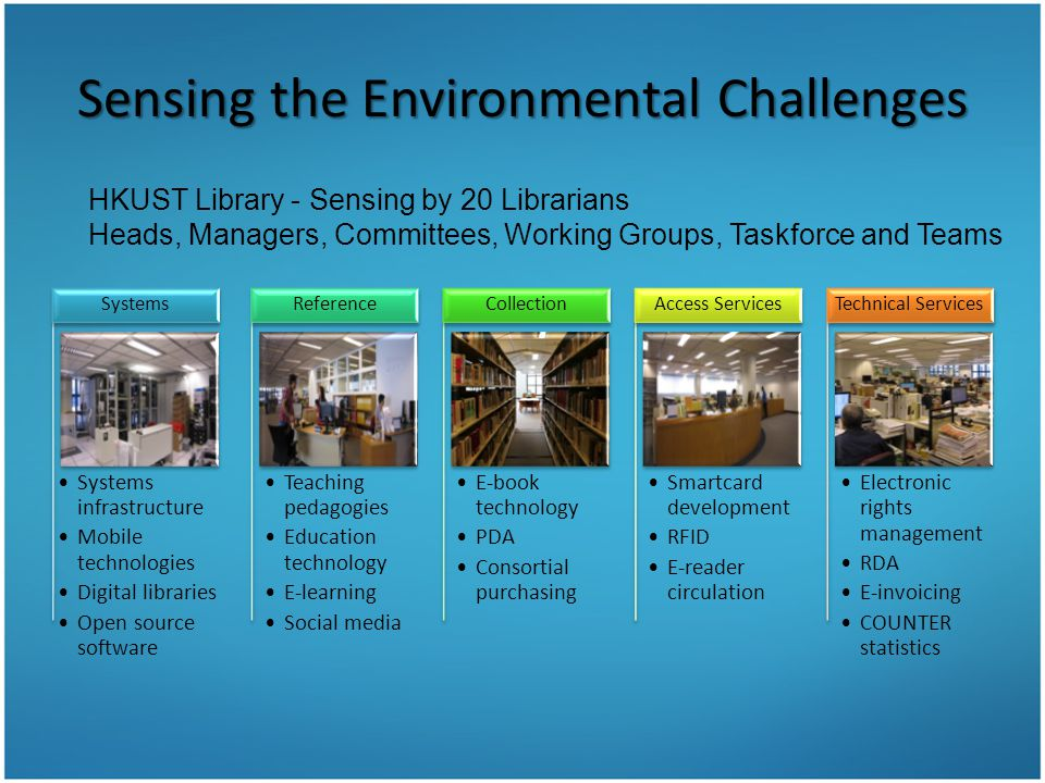 Sensing the Environmental Challenges Systems infrastructure Mobile technologies Digital libraries Open source software Systems Teaching pedagogies Edu