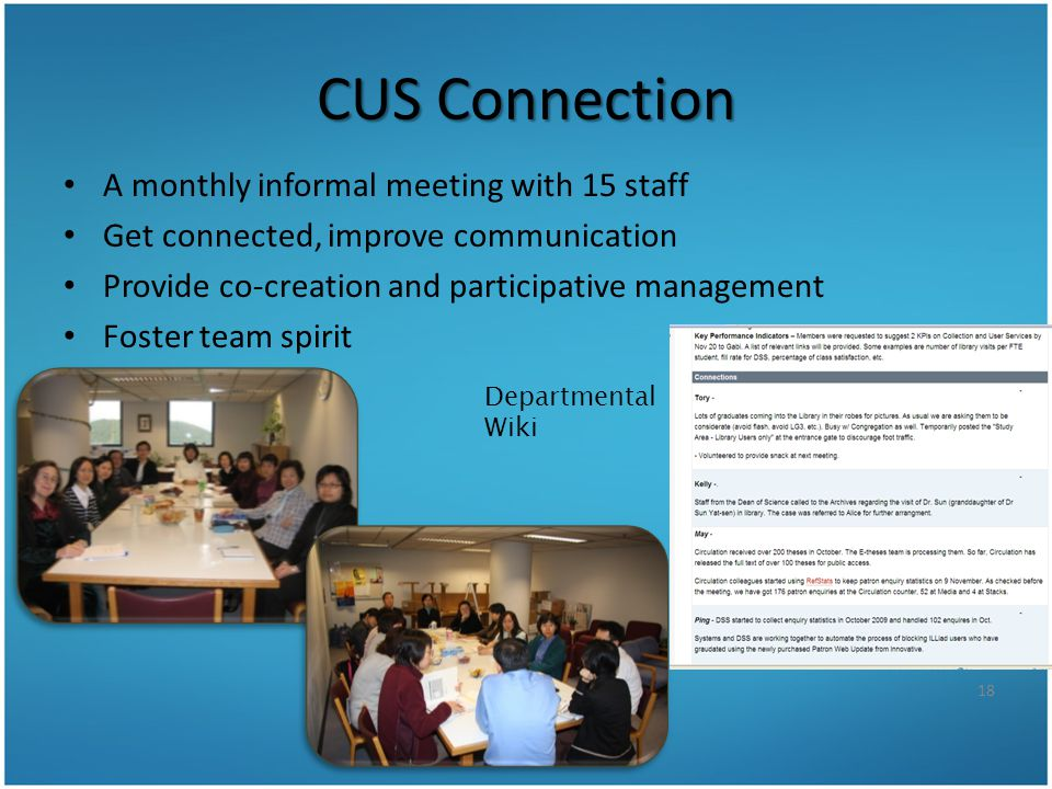CUS Connection A monthly informal meeting with 15 staff Get connected, improve communication Provide co-creation and participative management Foster t