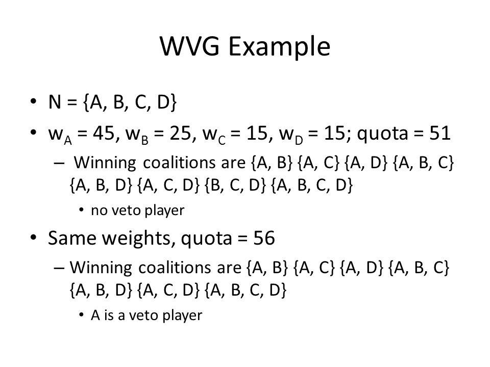 WVG Example N = {A, B, C, D} w A = 45, w B = 25, w C = 15, w D = 15; quota = 51 – Winning coalitions are {A, B} {A, C} {A, D} {A, B, C} {A, B, D} {A, C, D} {B, C, D} {A, B, C, D} no veto player Same weights, quota = 56 – Winning coalitions are {A, B} {A, C} {A, D} {A, B, C} {A, B, D} {A, C, D} {A, B, C, D} A is a veto player