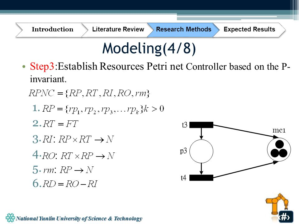 National Yunlin University of Science & Technology 26 Modeling(4/8) Step3:Establish Resources Petri net Controller based on the P- invariant.