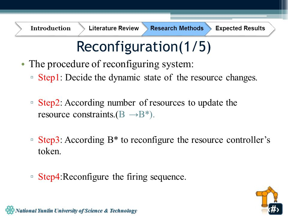National Yunlin University of Science & Technology 31 Reconfiguration(1/5) The procedure of reconfiguring system: ▫ Step1: Decide the dynamic state of the resource changes.