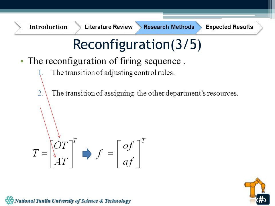 National Yunlin University of Science & Technology 33 Reconfiguration(3/5) The reconfiguration of firing sequence.
