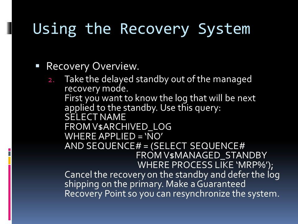 Using the Recovery System  Recovery Overview. 2.
