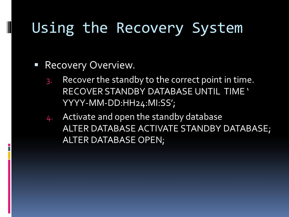 Using the Recovery System  Recovery Overview. 3.