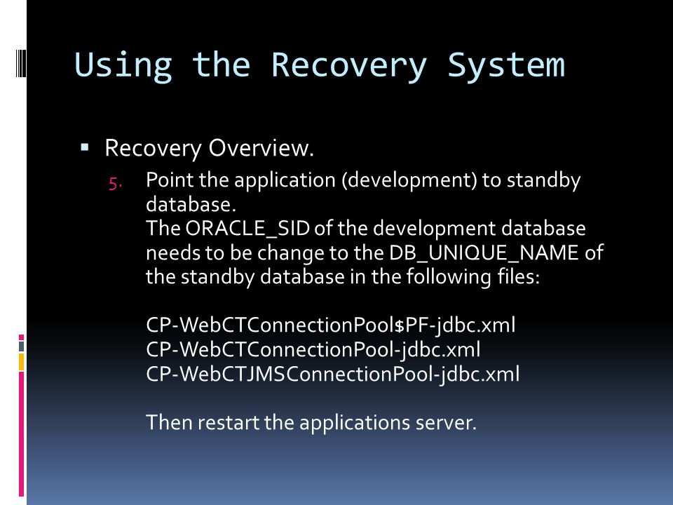 Using the Recovery System  Recovery Overview. 5.