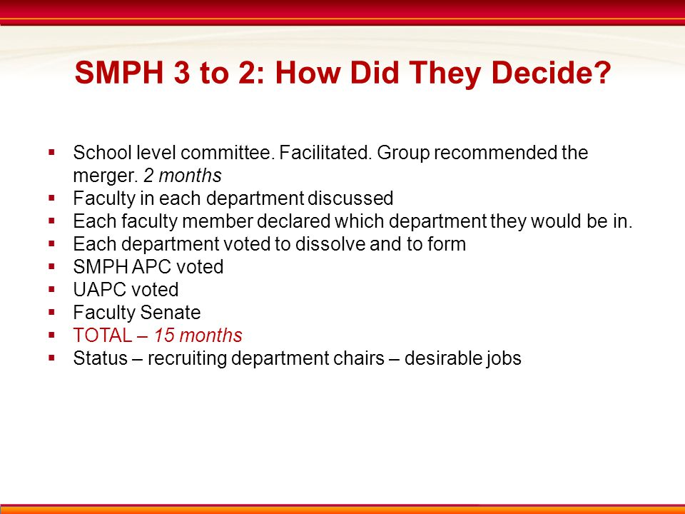 SMPH 3 to 2: How Did They Decide.  School level committee.