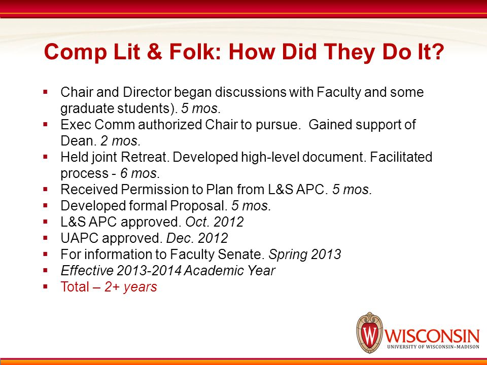 Comp Lit & Folk: How Did They Do It?  Chair and Director began discussions with Faculty and some graduate students). 5 mos.  Exec Comm authorized Ch