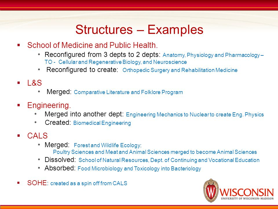 Structures – Examples  School of Medicine and Public Health. Reconfigured from 3 depts to 2 depts: Anatomy, Physiology and Pharmacology – TO - Cellul