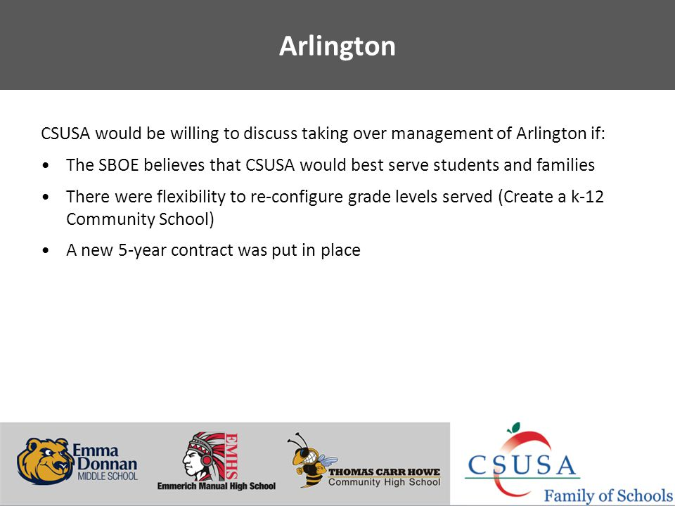 Putting Students First - www.charterschoolsusa.com Arlington CSUSA would be willing to discuss taking over management of Arlington if: The SBOE believes that CSUSA would best serve students and families There were flexibility to re-configure grade levels served (Create a k-12 Community School) A new 5-year contract was put in place