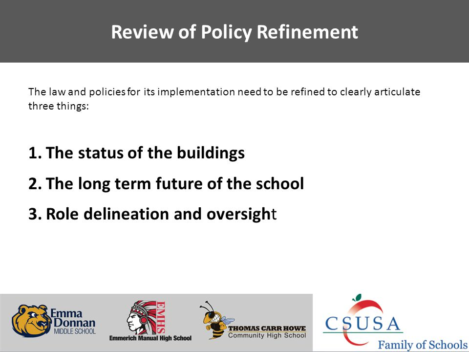 Putting Students First - www.charterschoolsusa.com Review of Policy Refinement The law and policies for its implementation need to be refined to clear