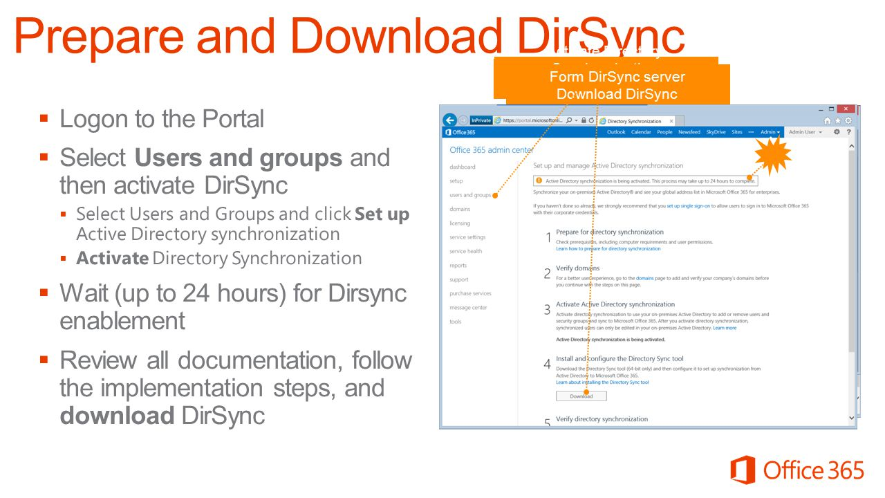 In MOP, select users and groups | DirSync Set up Activate Directory Synchronization (can take up to 24h to propagate) Form DirSync server Download Dir