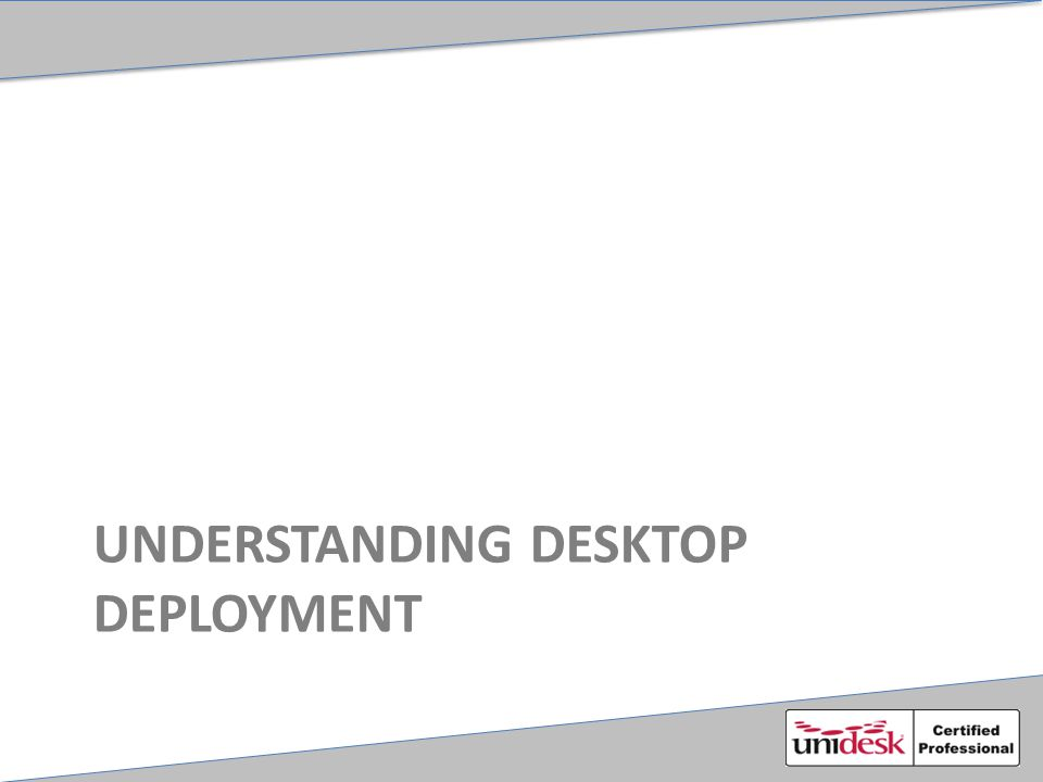 Desktop Deployment VM is created Personalization layer created 'Boot' Image created (BIC) VM reconfigured VM Powered on Windows Mini-Setup executes Registration with broker (more in Module 5) Non-persistent reboot
