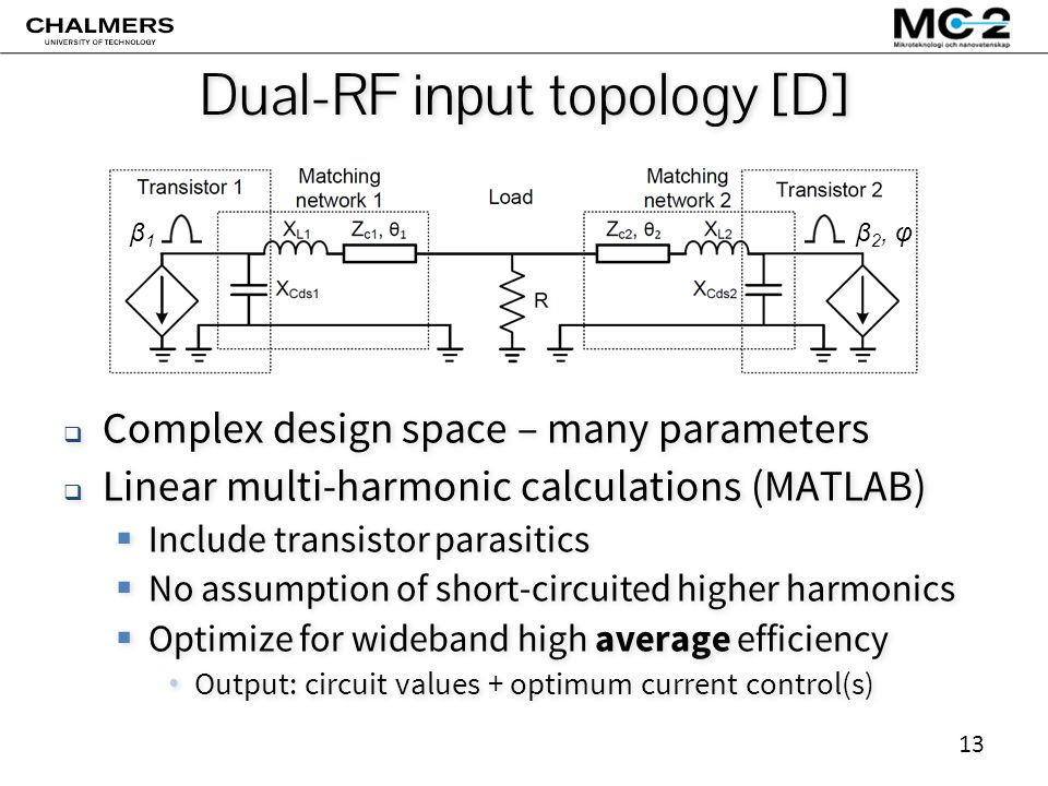 13 Dual-RF input topology [D]  Complex design space – many parameters  Linear multi-harmonic calculations (MATLAB)  Include transistor parasitics  No assumption of short-circuited higher harmonics  Optimize for wideband high average efficiency Output: circuit values + optimum current control(s)  Complex design space – many parameters  Linear multi-harmonic calculations (MATLAB)  Include transistor parasitics  No assumption of short-circuited higher harmonics  Optimize for wideband high average efficiency Output: circuit values + optimum current control(s) β1β1 β 2, φ