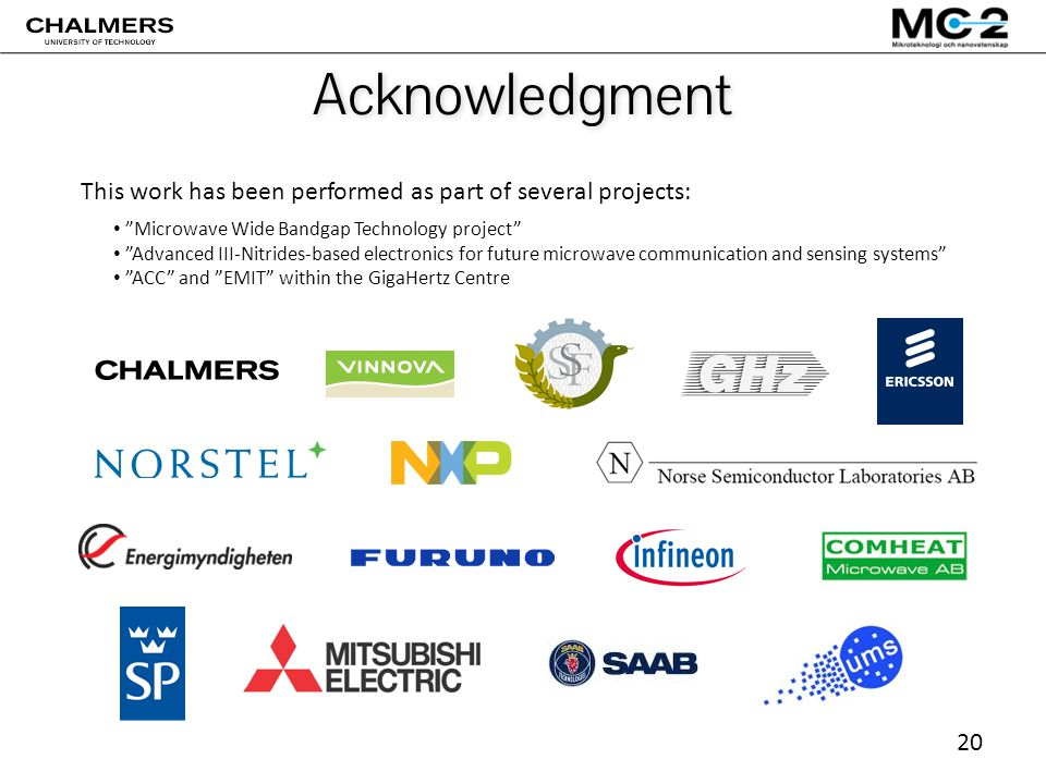 20 Acknowledgment Microwave Wide Bandgap Technology project Advanced III-Nitrides-based electronics for future microwave communication and sensing systems ACC and EMIT within the GigaHertz Centre This work has been performed as part of several projects: