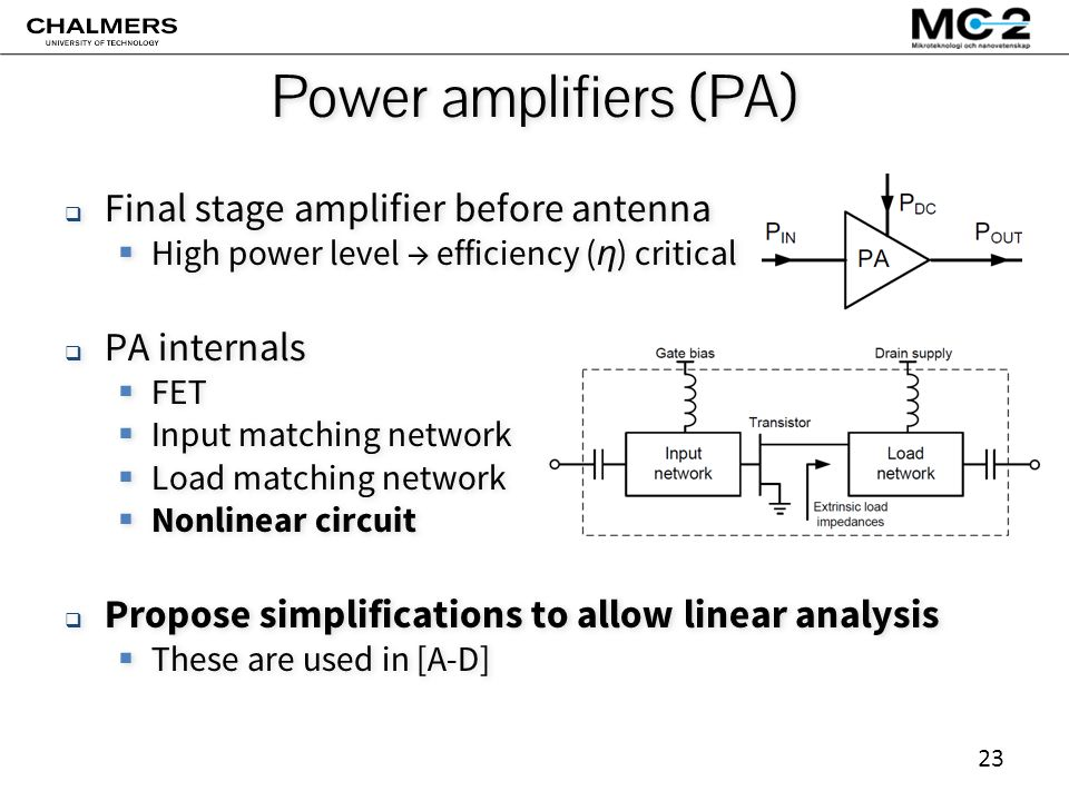 23 Power amplifiers (PA)  Final stage amplifier before antenna  High power level → efficiency ( η ) critical  PA internals  FET  Input matching network  Load matching network  Nonlinear circuit  Propose simplifications to allow linear analysis  These are used in [A-D]  Final stage amplifier before antenna  High power level → efficiency ( η ) critical  PA internals  FET  Input matching network  Load matching network  Nonlinear circuit  Propose simplifications to allow linear analysis  These are used in [A-D]
