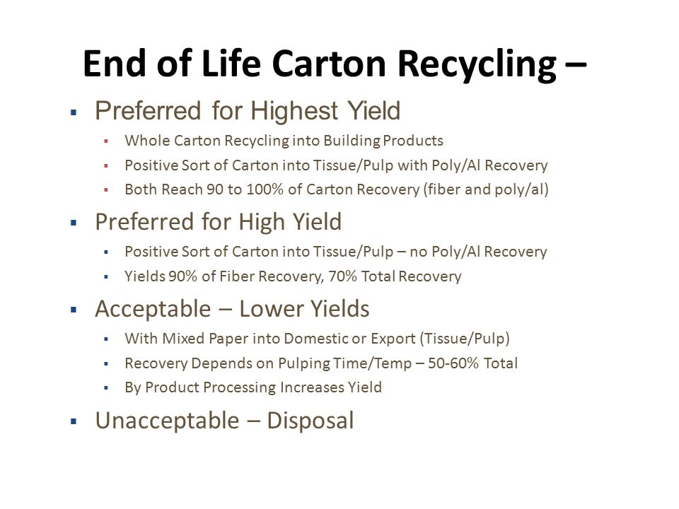 End of Life Carton Recycling –  Preferred for Highest Yield  Whole Carton Recycling into Building Products  Positive Sort of Carton into Tissue/Pulp with Poly/Al Recovery  Both Reach 90 to 100% of Carton Recovery (fiber and poly/al)  Preferred for High Yield  Positive Sort of Carton into Tissue/Pulp – no Poly/Al Recovery  Yields 90% of Fiber Recovery, 70% Total Recovery  Acceptable – Lower Yields  With Mixed Paper into Domestic or Export (Tissue/Pulp)  Recovery Depends on Pulping Time/Temp – 50-60% Total  By Product Processing Increases Yield  Unacceptable – Disposal
