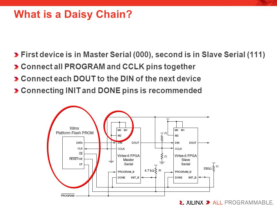 First device is in Master Serial (000), second is in Slave Serial (111) Connect all PROGRAM and CCLK pins together Connect each DOUT to the DIN of the