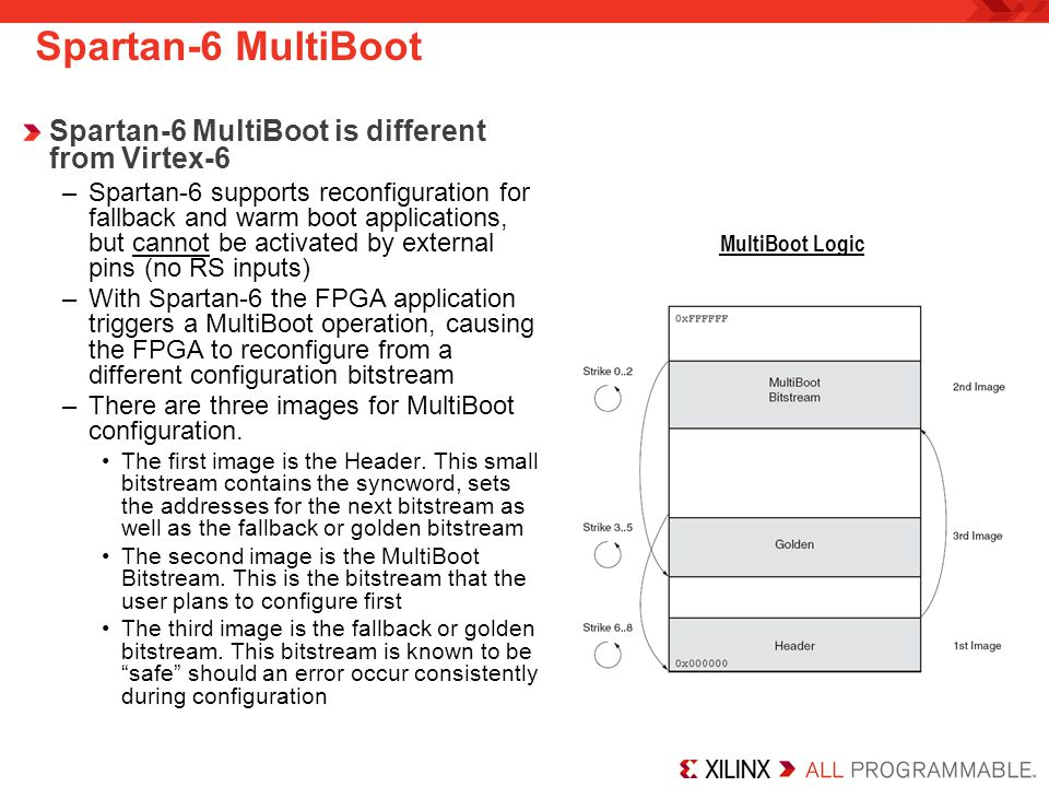 Spartan-6 MultiBoot is different from Virtex-6 –Spartan-6 supports reconfiguration for fallback and warm boot applications, but cannot be activated by