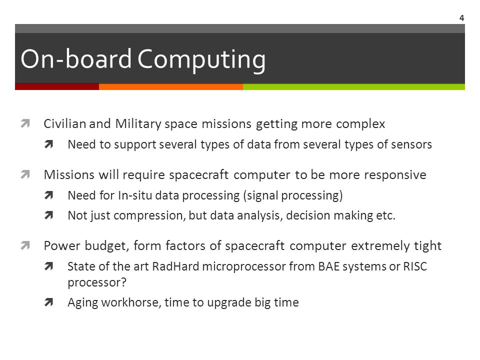 On-board Computing  Civilian and Military space missions getting more complex  Need to support several types of data from several types of sensors  Missions will require spacecraft computer to be more responsive  Need for In-situ data processing (signal processing)  Not just compression, but data analysis, decision making etc.
