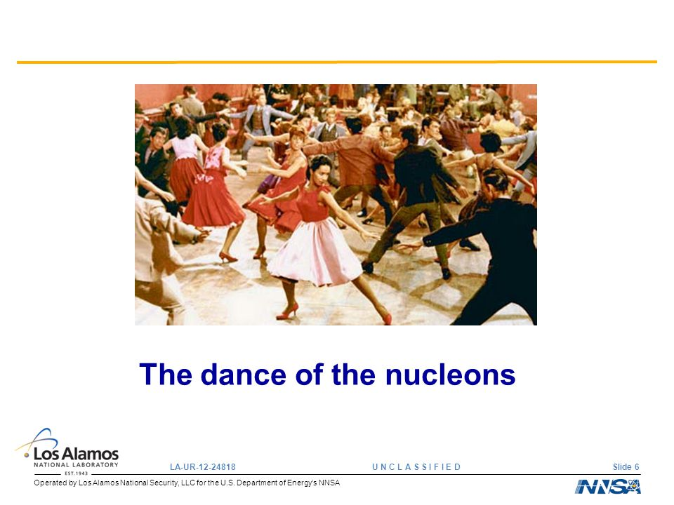 Operated by Los Alamos National Security, LLC for the U.S. Department of Energy's NNSA LA-UR-12-24818 U N C L A S S I F I E D Slide 6 The dance of the