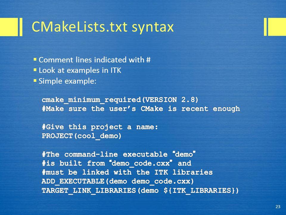 CMakeLists.txt syntax 23