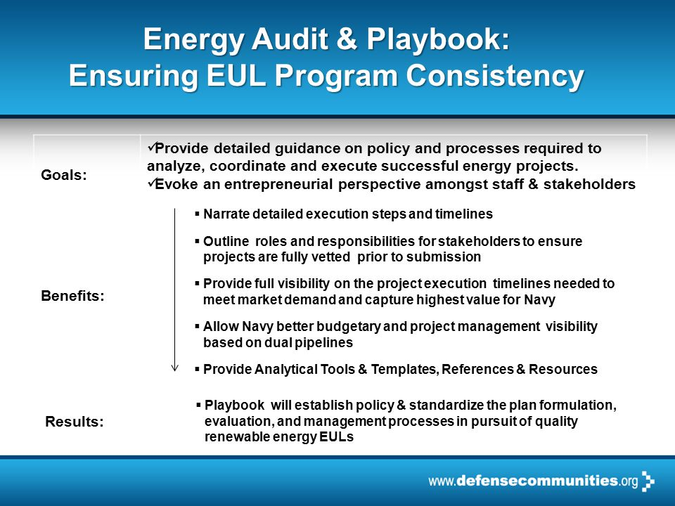 2012 ADC WINTER FORUM | PAGE 6 Energy Audit & Cogen Playbook:  Renewable Energy Technical Screening Tool  Navy Financial Analysis Tool  Formulate As-Is and To-Be Decision Tree Tool  Navy Project Prioritization Tool  Reconfigure Shore Facilities Investment Model (SFIM)