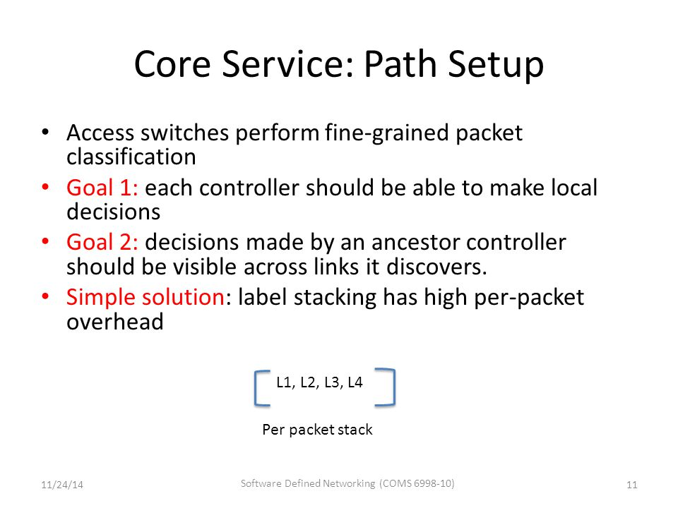 Core Service: Path Setup Access switches perform fine-grained packet classification Goal 1: each controller should be able to make local decisions Goal 2: decisions made by an ancestor controller should be visible across links it discovers.