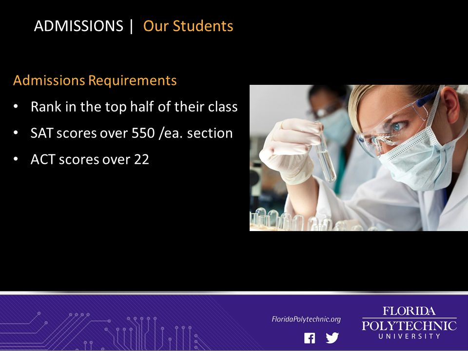Admissions Requirements Rank in the top half of their class SAT scores over 550 /ea.