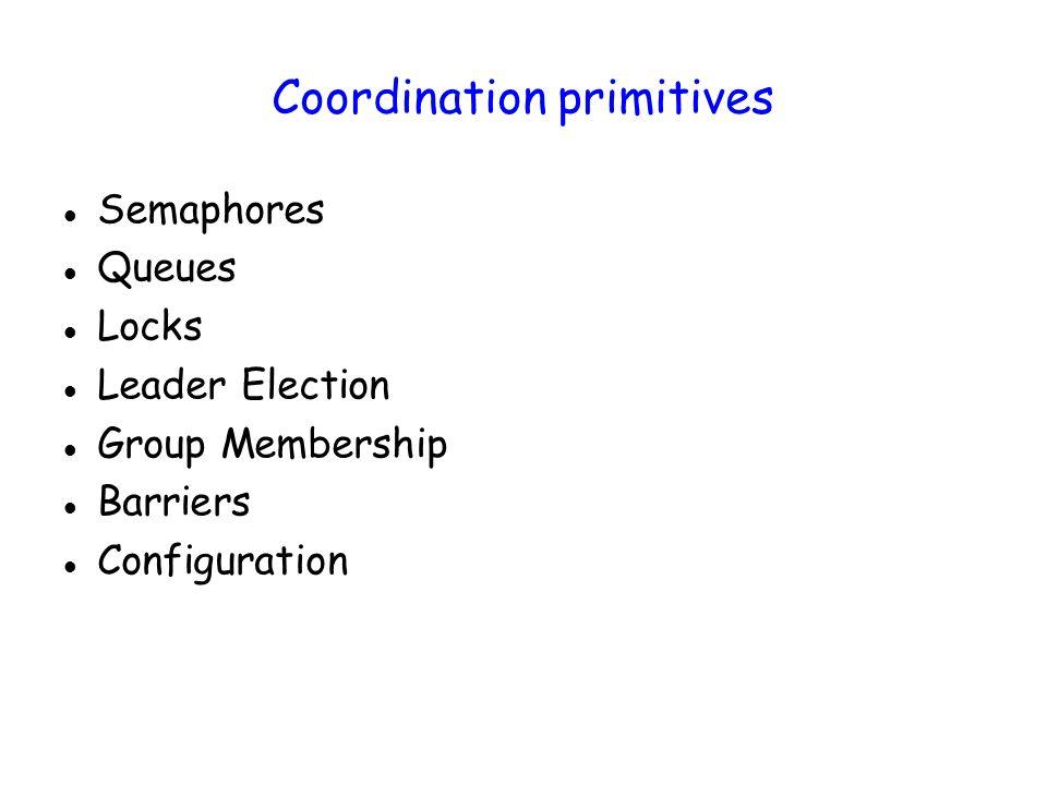 Coordination primitives Semaphores Queues Locks Leader Election Group Membership Barriers Configuration