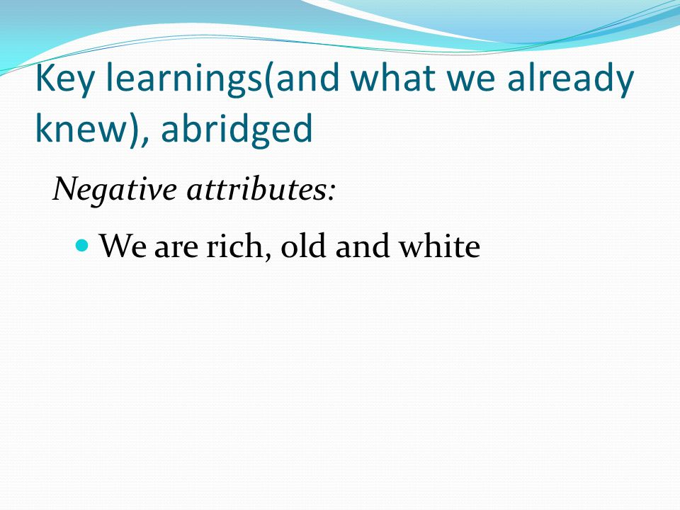 Key learnings(and what we already knew), abridged Negative attributes: We are rich, old and white