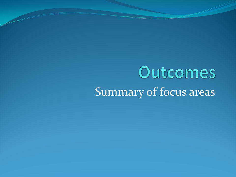 Summary of focus areas